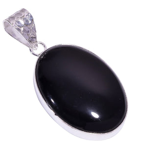Bullahshah Ethnic Style Sterling Silver Overlay Oval Shaped Rainbow Eye Obsidian Gemstone Pendant, Natural Stone Handmade Necklace for Women with Rhodium Plated Chain, NLG-1614