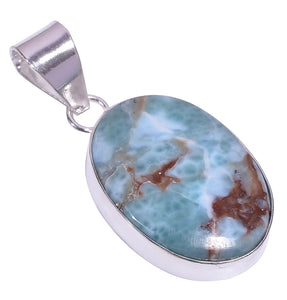 Bullahshah Ethnic Style Sterling Silver Overlay Blue Larimar Oval Shaped Gemstone Pendant, Natural Stone Handmade Necklace for Women with Rhodium Plated Chain, NLG-1629