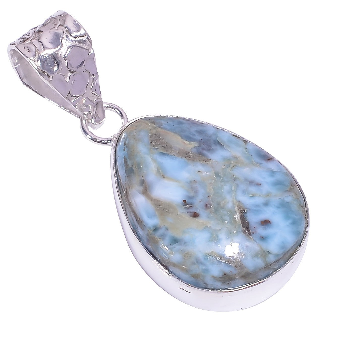 Bullahshah Ethnic Style Sterling Silver Overlay Blue Larimar Pear Shaped Gemstone Pendant, Natural Stone Handmade Necklace for Women with Rhodium Plated Chain, NLG-1631