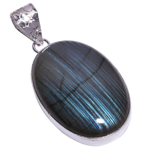 Bullahshah Ethnic Style Sterling Silver Overlay Labradorite Oval Shaped Gemstone Pendant, Natural Stone Handmade Necklace for Women with Rhodium Plated Chain, NLG-1632