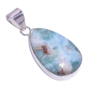 Bullahshah Ethnic Style Sterling Silver Overlay Blue Larimar Pear Shaped Gemstone Pendant, Natural Stone Handmade Necklace for Women with Rhodium Plated Chain, NLG-1638