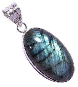 Bullahshah Ethnic Style Sterling Silver Overlay Labradorite Oval Shaped Gemstone Pendant, Natural Stone Handmade Necklace for Women with Rhodium Plated Chain, NLG-1639
