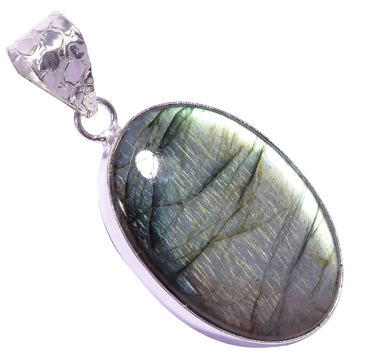 Bullahshah Ethnic Style Sterling Silver Overlay Labradorite Oval Shaped Gemstone Pendant, Natural Stone Handmade Necklace for Women with Rhodium Plated Chain, NLG-1644