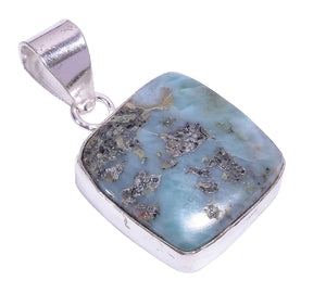 Bullahshah Ethnic Style Sterling Silver Overlay Blue Larimar Gemstone Pendant, Natural Stone Handmade Necklace for Women with Rhodium Plated Chain, NLG-1647