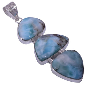 Bullahshah Ethnic Style Sterling Silver Overlay Blue Larimar Gemstone Pendant, Natural Stone Handmade Necklace for Women with Rhodium Plated Chain, NLG-1671