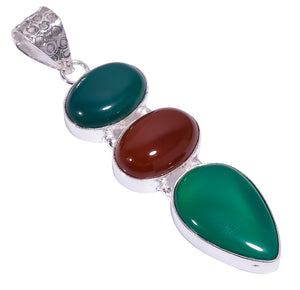 Bullahshah Ethnic Style Sterling Silver Overlay Green Chalcedony & Carnelian Gemstone Pendant, Natural Stone Handmade Necklace for Women with Rhodium Plated Chain, NLG-1686