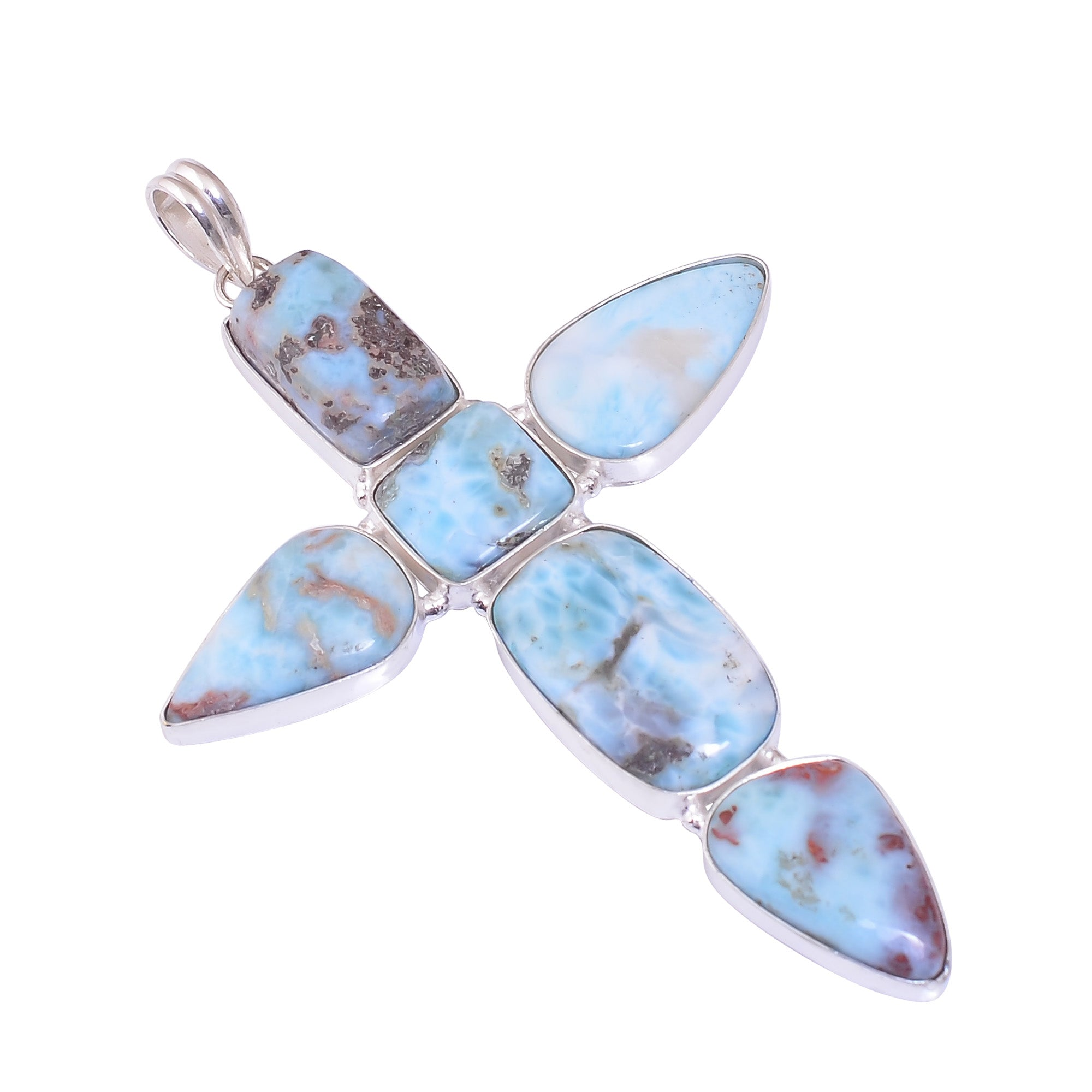 Sterling Silver Overlay Cross Pendant with Larimar Gemstone, Natural Handmade Stone Necklace for Women with Rhodium Plated Chain, NLG-1698