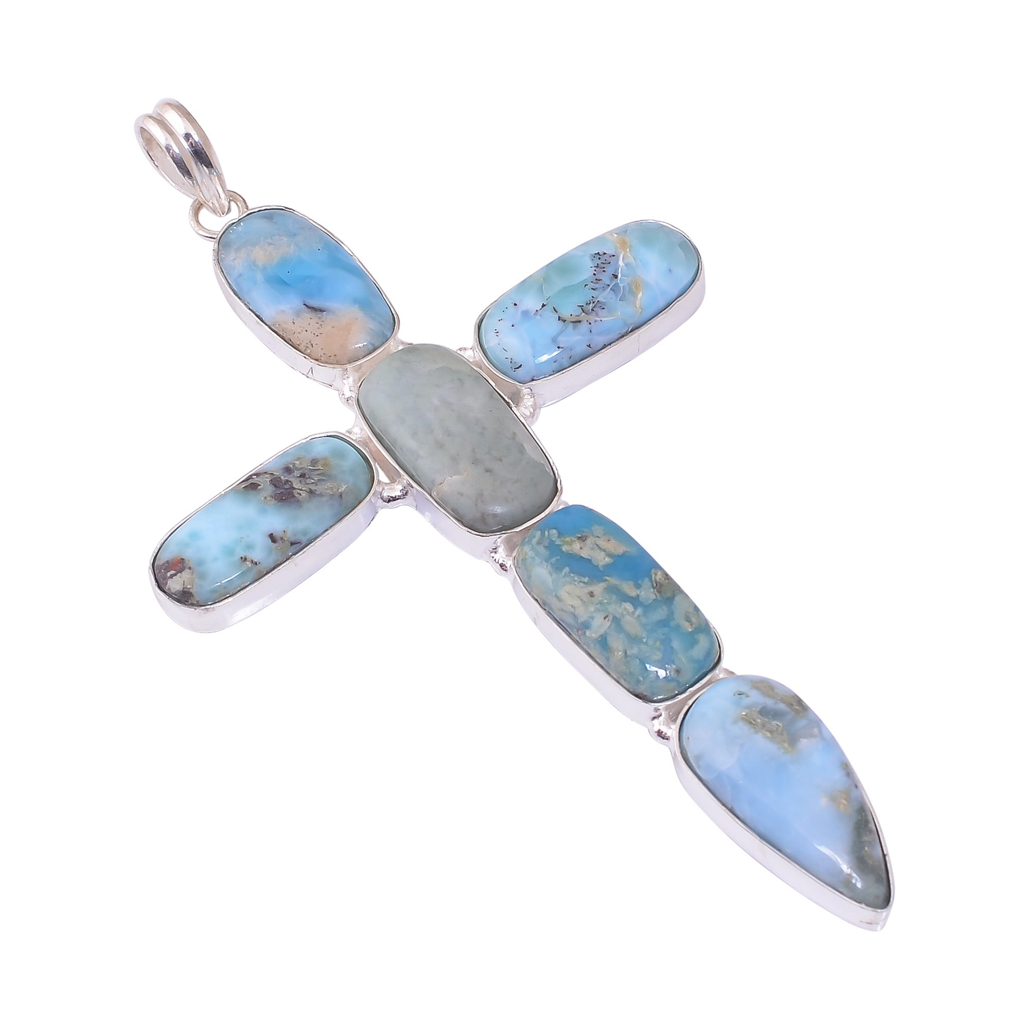 Bullahshah Sterling Silver Overlay Cross Pendant with Larimar Gemstone, Natural Handmade Stone Necklace for Women with Rhodium Plated Chain, NLG-1700