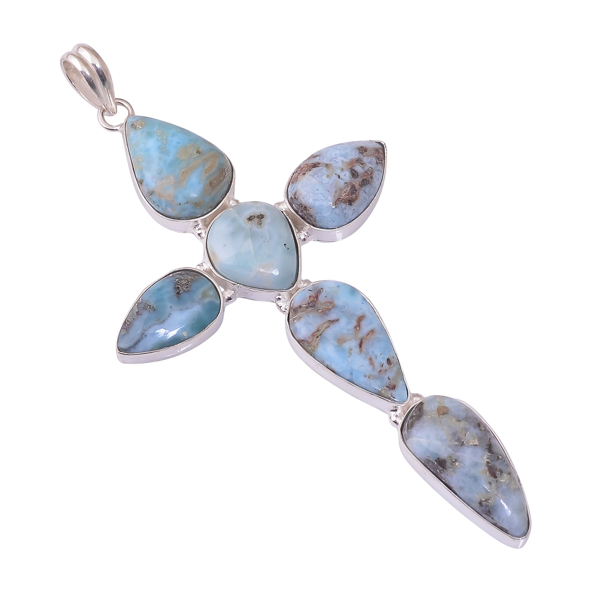 Bullahshah Sterling Silver Overlay Cross Pendant with Larimar Gemstone, Natural Handmade Stone Necklace for Women with Rhodium Plated Chain, NLG-1703
