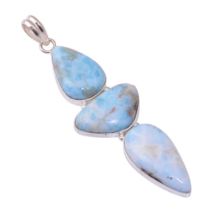 Bullahshah Sterling Silver Overlay Pendant with Larimar Gemstone, Natural Handmade Stone Necklace for Women with Rhodium Plated Chain, NLG-1705