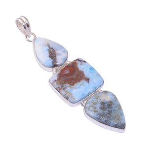 Bullahshah Sterling Silver Overlay Pendant with Larimar Gemstone, Natural Handmade Stone Necklace for Women with Rhodium Plated Chain, NLG-1718