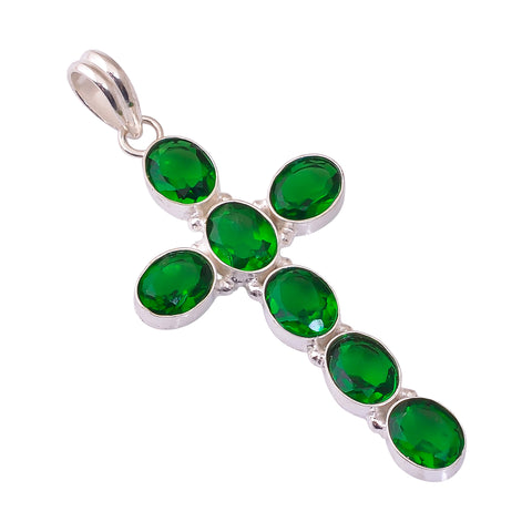 Sterling Silver Overlay Cross Pendant with Chrome Diopside Gemstone, Natural Stone Handmade Necklace for Women with Rhodium Plated Chain, NLG-1733