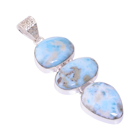 Bullahshah Sterling Silver Overlay Pendant with Larimar Gemstone, Natural Handmade Stone Necklace for Women with Rhodium Plated Chain, NLG-1734