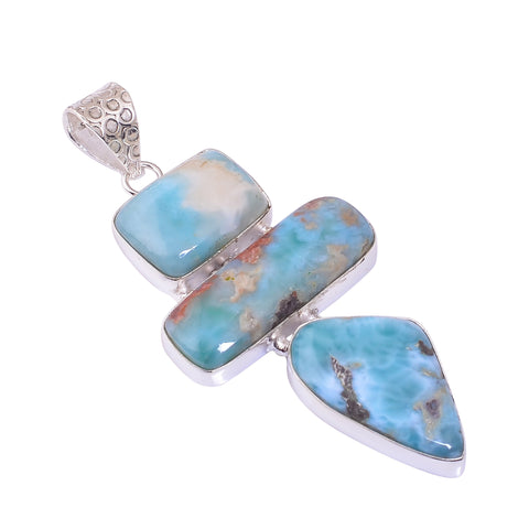 Bullahshah Sterling Silver Overlay Pendant with Larimar Gemstone, Natural Handmade Stone Necklace for Women with Rhodium Plated Chain, NLG-1735