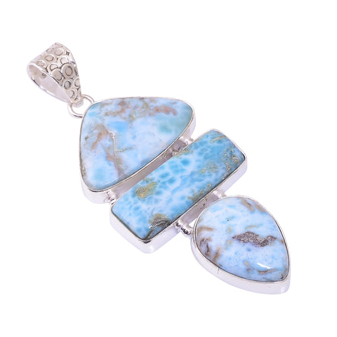 Bullahshah Sterling Silver Overlay Pendant with Larimar Gemstone, Natural Handmade Stone Necklace for Women with Rhodium Plated Chain, NLG-1736