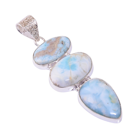 Bullahshah Sterling Silver Overlay Pendant with Larimar Gemstone, Natural Handmade Stone Necklace for Women with Rhodium Plated Chain, NLG-1737