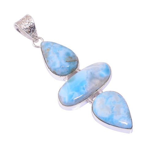 Bullahshah Sterling Silver Overlay Pendant with Larimar Gemstone, Natural Handmade Stone Necklace for Women with Rhodium Plated Chain, NLG-1738