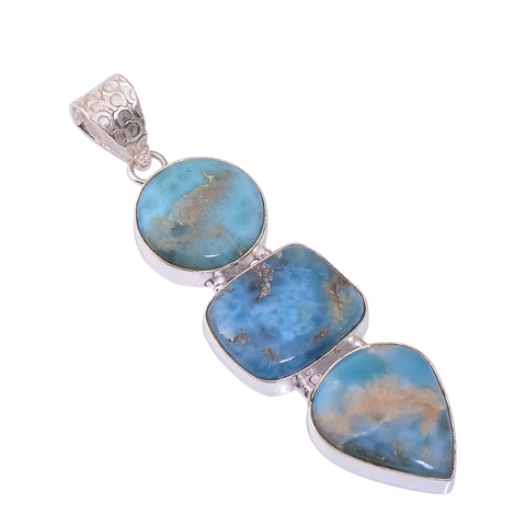 Sterling Silver Overlay Pendant with Larimar Gemstone, Natural Handmade Stone Necklace for Women with Rhodium Plated Chain, NLG-1739