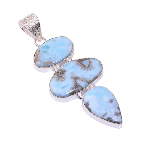 Sterling Silver Overlay Pendant with Larimar Gemstone, Natural Handmade Stone Necklace for Women with Rhodium Plated Chain, NLG-1740