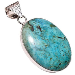 Ethnic Style Sterling Silver Overlay Reconstituted Tibetan Turquoise Stone Pendant, Natural Stone Handmade Necklace for Women with Rhodium Plated Chain NLG-570