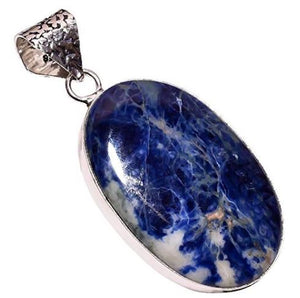 Ethnic Style Sterling Silver Overlay Sodalite Gemstone Pendant, Natural Stone Handmade Necklace for Women with Rhodium Plated Chain, NLG-584