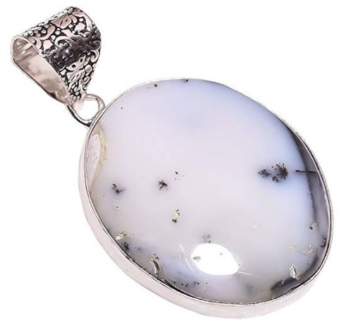 Ethnic Style Sterling Silver Overlay Dendrite Opal Gemstone Pendant, Natural Stone Handmade Necklace for Women with Rhodium Plated Chain, NLG-622