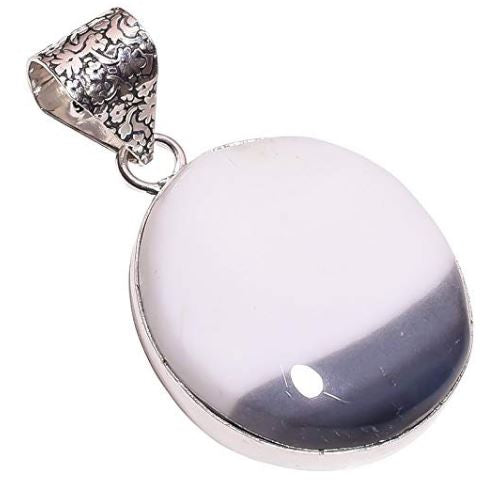 Ethnic Style Sterling Silver Overlay Dendrite Opal Gemstone Pendant, Natural Stone Handmade Necklace for Women with Rhodium Plated Chain, NLG-623