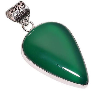 Ethnic Style Sterling Silver Overlay Green Chalcedony Gemstone Pendant, Natural Stone Handmade Necklace for Women with Rhodium Plated Chain, NLG-644