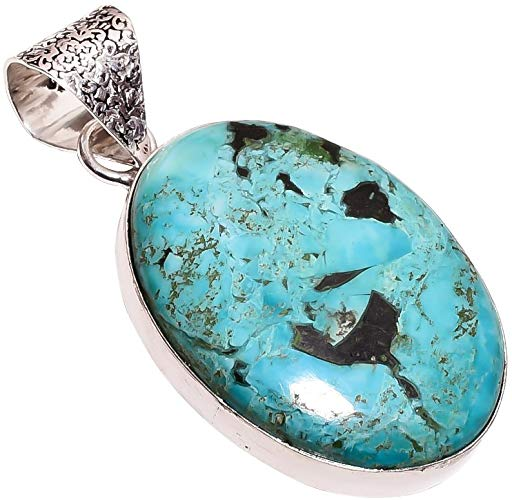 Ethnic Style Sterling Silver Overlay Reconstituted Tibetan Turquoise Stone Pendant, Natural Stone Handmade Necklace for Women with Rhodium Plated Chain, NLG-664