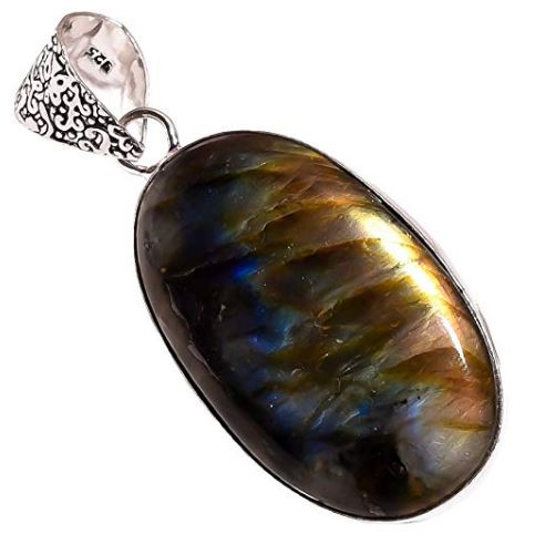 Bullahshah Ethnic Style Sterling Silver Overlay Labradorite Gemstone Pendant, Oval Shaped Natural Stone Handmade Necklace for Women with Rhodium Plated Chain, NLG-686