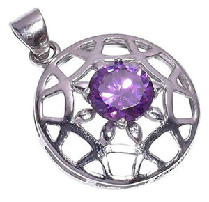 925 Sterling Silver Amethyst Stone Pendant Handmade Necklace with Rhodium Plated Chain for Women NLG-914