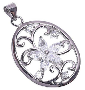 925 Sterling Silver Zircon Stone Pendant Handmade Necklace Pendant with Rhodium Plated Chain for Women NLG-955
