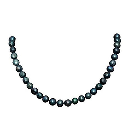Bullahshah Black with Peacock Shades Freshwater Pearl Necklace Choker for Women with Rhodium Plated Hook & Extension Chain