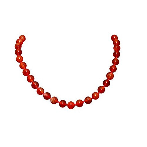 Bullahshah Red Agate Stone Necklace Choker for Women with Rhodium Plated Hook & Extension Chain