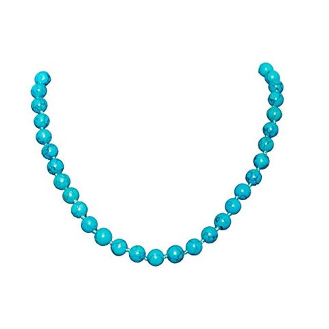 Bullahshah Turquoise Howlite Stone Necklace Choker for Women with Rhodium Plated Hook & Extension Chain