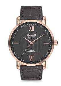 Omax Men's Grey Leather Strap Gold Dial with Dark Grey Face Wrist Watch Analog Quartz Buckle Clasp
