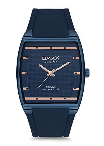 Omax Men's Navy Blue Silicone Strap Wrist Watch Analog Quartz Square Dial Buckle Clasp Extra Battery