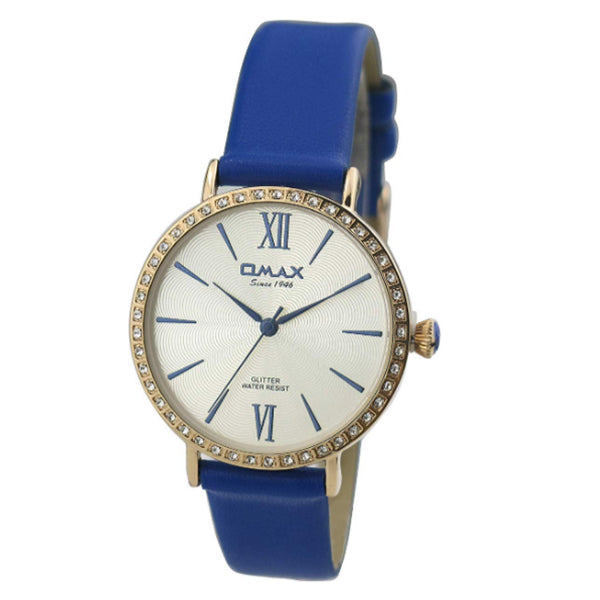 Omax Women Diamante Studded Dial Leather Strap Wrist Watch, Analog Display, Japanese Quartz Movement, Buckle Clasp, 3 ATM Water Resistant