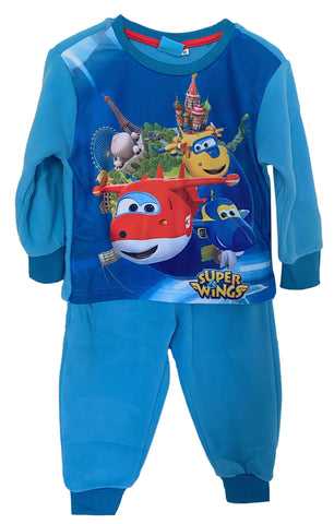 Super Wings Pyjama‌ ‌Set, Long ‌Sleeves‌ Nightwear,‌ ‌Blue‌ Soft Fleece ‌Loungewear‌ ‌for‌ ‌Boys‌ and Girls