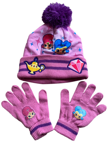 Shimmer & Shine Girls Bobble Hat & Gloves Set, Thermal Pom Pom Beanie Hat and Mittens Cold Weather Set