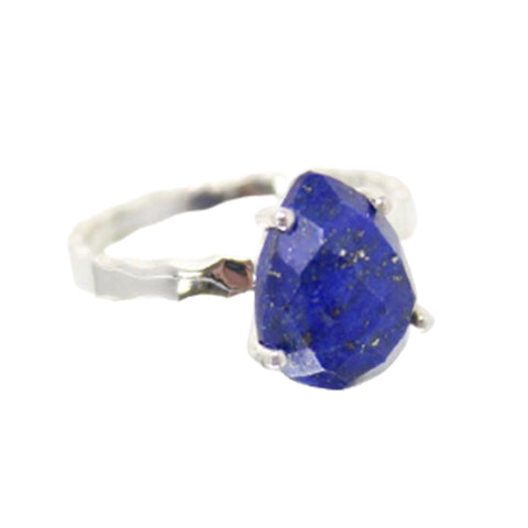 StonesnStars 925 Sterling Silver Blue Lapis Lazuli Teardrop Raw Stone Solitaire Stacking Gemstone Ring for Women
