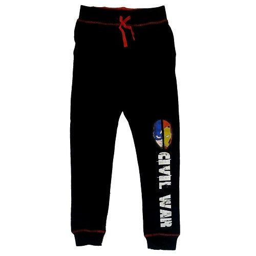 Marvel Boy's Captain America: Civil War vs Iron Man Jogger Pants Tracksuit Jog Bottoms Black Cotton Trousers