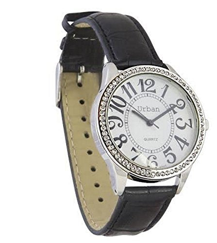 Urban Women's Wrist Watch Diamante Face Large Numbers and Dial Display Analog Japanese Quartz Movement with Black PU Leather UR5