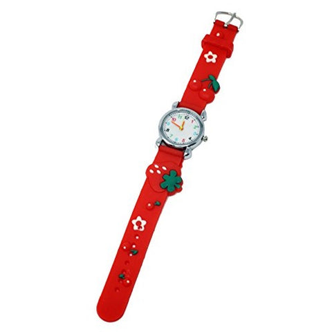 Soft Silicone Girl's Wrist Watch Strawberry Fruity Theme Fun Kids Silver Multicoloured Number Dial Analog Quartz Movement