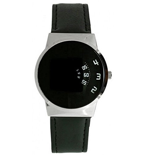 Softech Men's Designer Wrist Watch, Black Face, Jump Hour Disc Time Display, Quartz Movement with Black PU Leather Strap