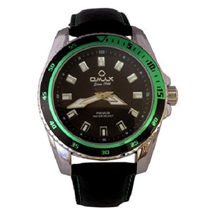 Omax Men's Wrist Watch Green Black Dial Silver Bezel Analog Display Quartz Movement with Black PU Leather Strap Omax-F