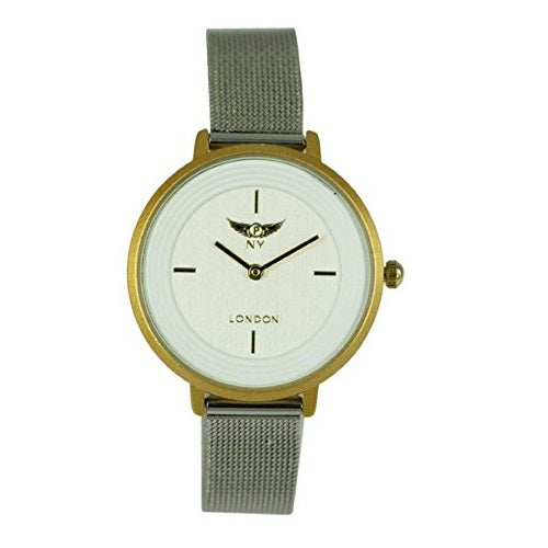NY London Women's Silver with Gold Dial & White Face All Metal Mesh Strap Wrist Watch Analog Quartz Hook Buckle Clasp Extra Battery