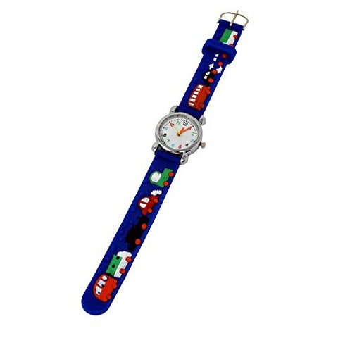 Soft Silicone Unisex Cars & Bus Theme Fun Kids Wrist Watch Silver Multicoloured Number Dial Analog Quartz Movement