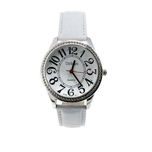 Urban Women's Wrist Watch, Silver Diamante, Large Numbers and Dial, Analog Display, Japanese Quartz with White PU Leather Strap, UBN-L