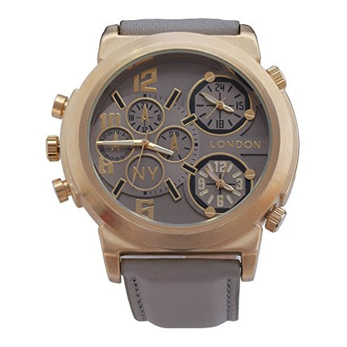 NY London Men's Gold Bezel Grey Leather Strap Triple Time Zone Chronograph Luxury Wrist Watch Analog Quartz Extra Battery